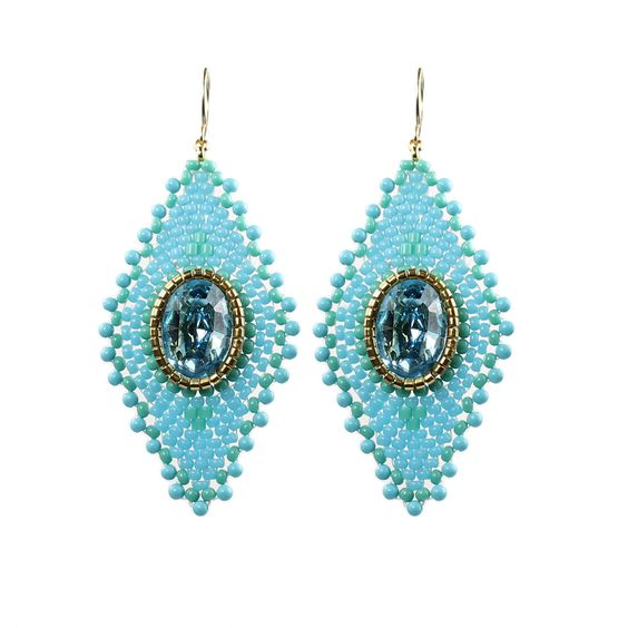 Miguel Ases Turquoise and Swarovski Diamond Shaped Earrings: