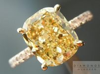 SOLD....Yellow Diamond Ring: 3.02ct Fancy Brownish Yellow Cushion Cut  Ring GIA R4513