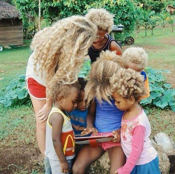 Melanesian Blondes - Black People with Natural Blonde Hair. About a quarter of the Melanesian population in the Solomon Islands archipelago has an extremely unusual trait – they have the darkest skin in the world outside of Africa, but strangely, about one-fourth of the inhabitants sport blond afros.: