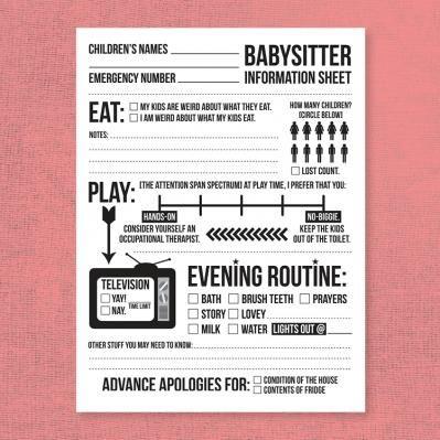 Babysitter Information Sheet | printables | Pinterest ...