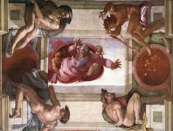Separación de los cielos y la tierra. Miguel Ángel, Capilla Sixtina