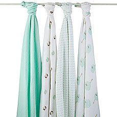 image of aden® by aden + anais ® 4-Pack Muslin Swaddle Blankets in Goodnight Owl