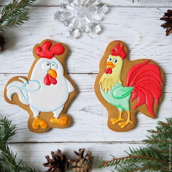 Купить Пряники Петухи - петух, петух 2017, петушок, Новый Год, новогодний подарок: