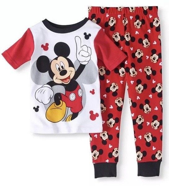 NWT Disney Baby Boy/'s Sz 2T Mickey Mouse Number One Pajamas NEW