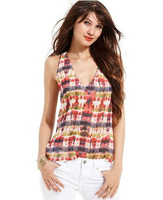 Ali & Kris Juniors Top, Sleeveless Tie-Dye-Print Tank - Juniors Tops - Macy's