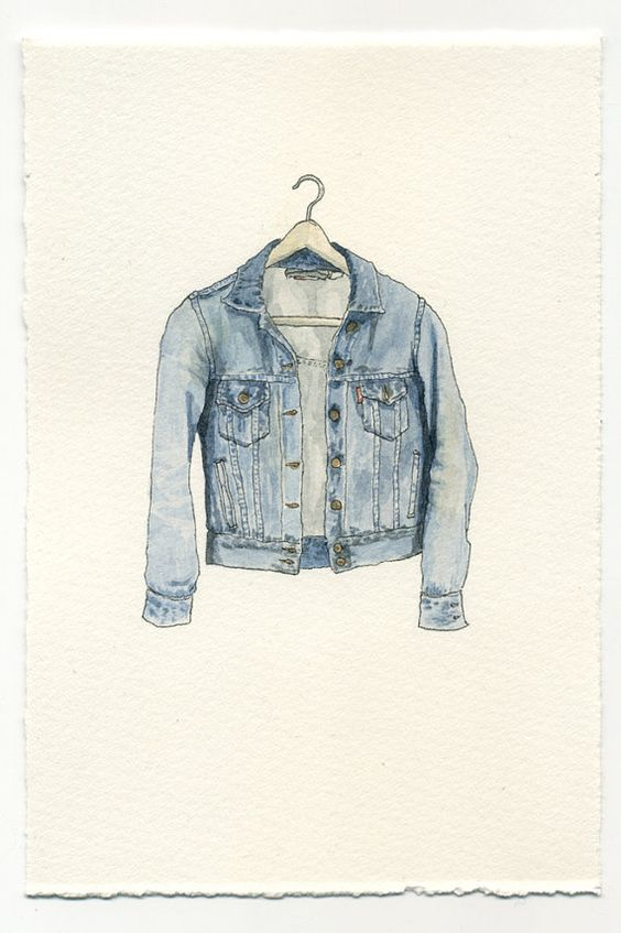 ORIGINAL Watercolor Illustration - Worn In Blue Grunge Denim Jean Jacket