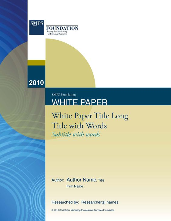 SMPS National White Paper Template design in Word Portada - white paper templates