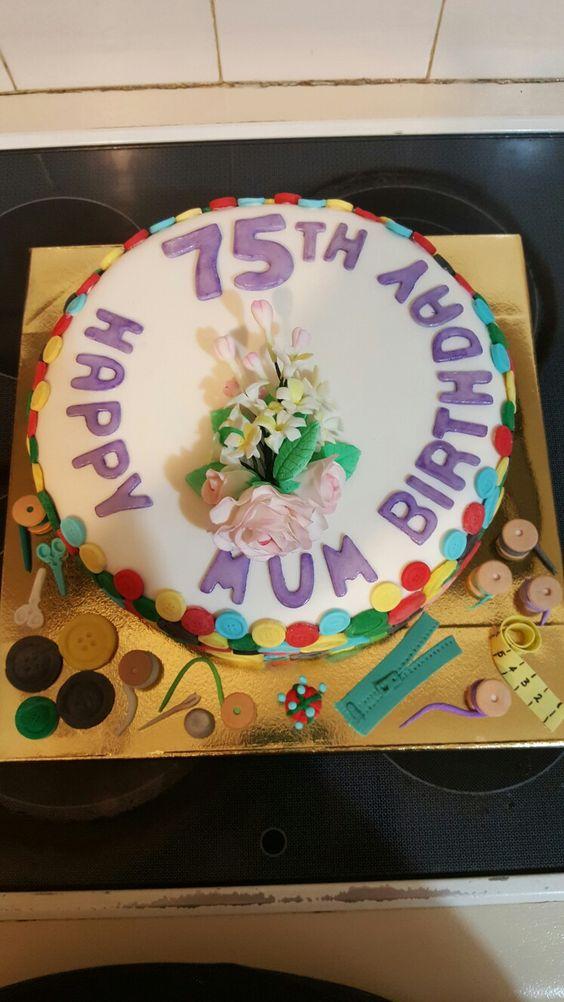 Mums 75th Birthday cake December 2016   My Cakes   Pinterest