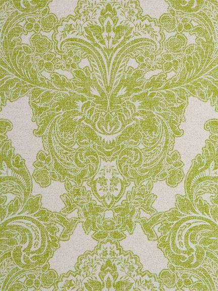 Master Bedroom    Lime green and grey damask wallpaper from American  company Sherwin Williams. Lime green and grey damask wallpaper from American company Sherwin