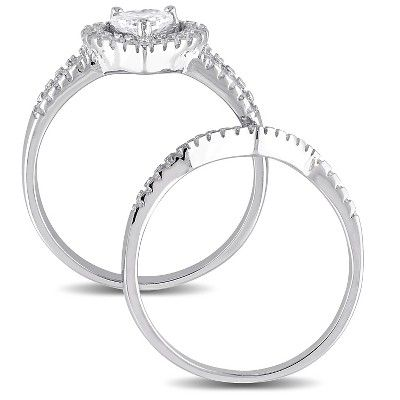 1 3 8 Ct T W Heart Cubic Zirconia Halo Bridal Set In Sterling