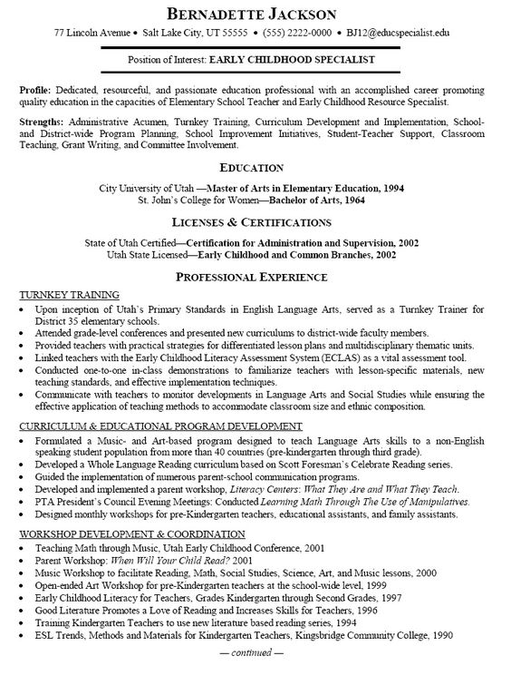 Preschool Teacher Resume Objective Preschool Teacher
