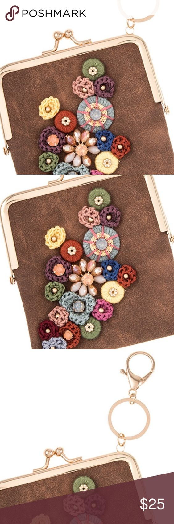Faux Suede Key Chain Faux Suede floral accent detailed mini bag key chain Other