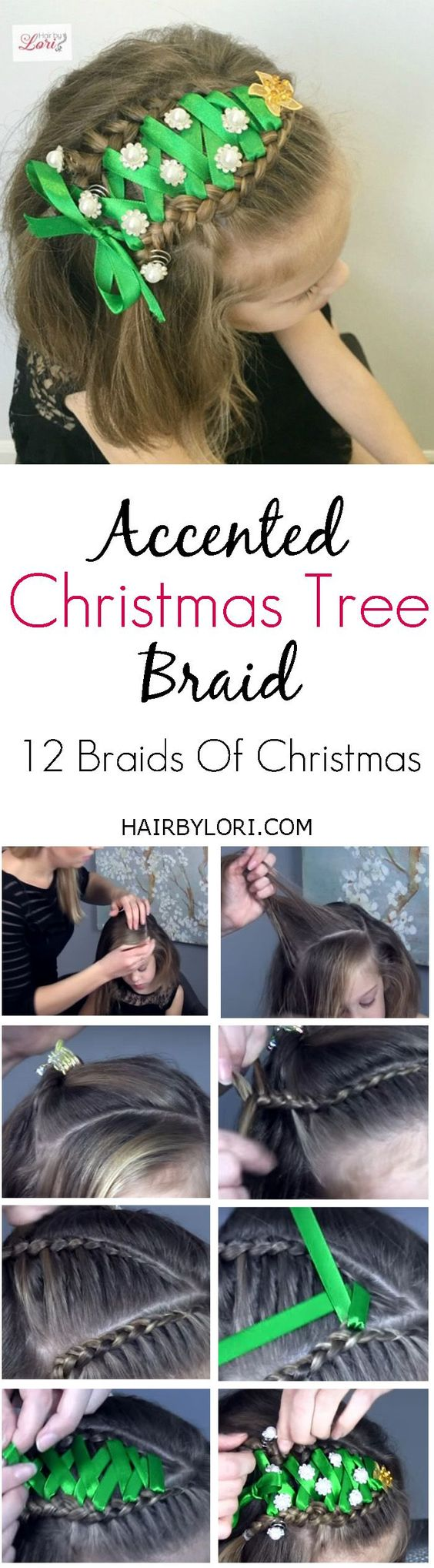 Video Tutorial: The Accented Christmas Tree Braid. A fun braid part of my 12 Braids Of Christmas Series.