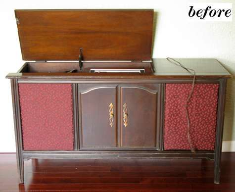 """These vintage stereos with the wooden cabinets have such a beautiful, warm sound.  Found this on a website, and I really liked their """"before"""" photo much better!"""