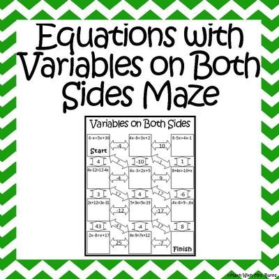 Worksheet Solving Equations With Variables On Both Sides Worksheet maze equation and products on pinterest equations with variables both sides from amazing mathematics teachersnotebook com