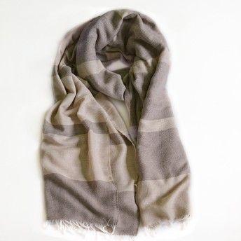 Unisex cashmere scarf dark brown/camel