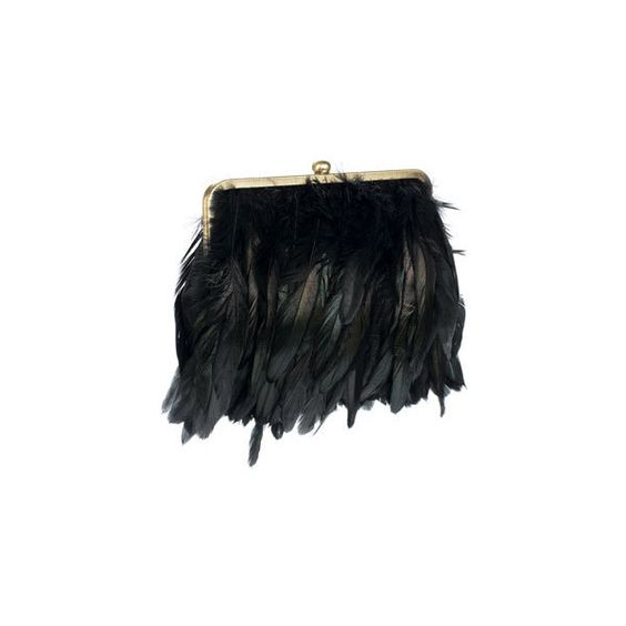 Feather Clutch Bag ($54) ❤ liked on Polyvore featuring bags, handbags, clutches, purses, borse, accessories, clutch bags, black purse, black clutches and feather handbag