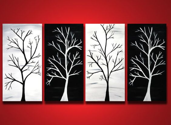 tree branch painting huge original wall art black and white home decor abstract canvas