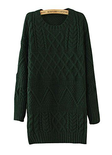 Dreamall Women's Retro Thick Tweed Knit Solid Turtleneck…