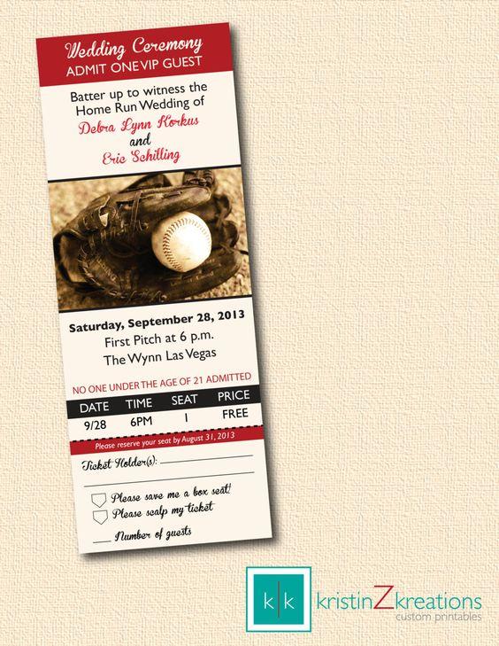 BASEBALL TICKET themed wedding invitation and rsvp custom printable-- digital file 3 x 8. $15.00, via Etsy.