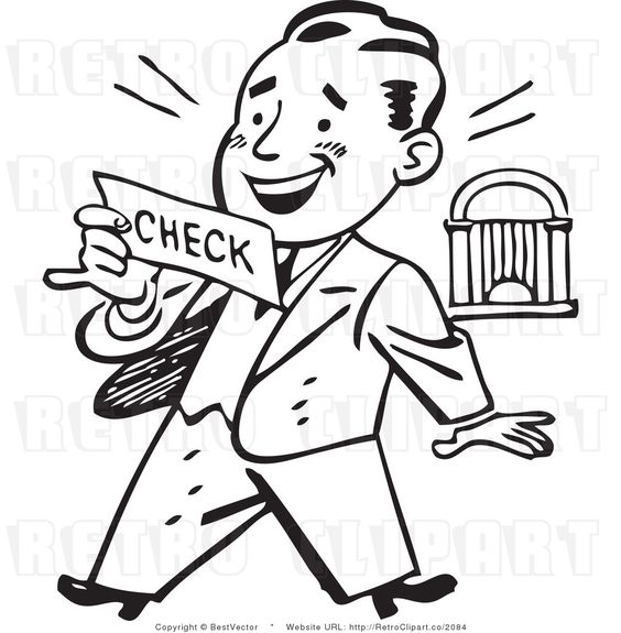 Retro Clip Art Of An Excited Businessman Looking At His Large Check On Payday Vintage Illustration Art Clip Art Vintage Clip Art