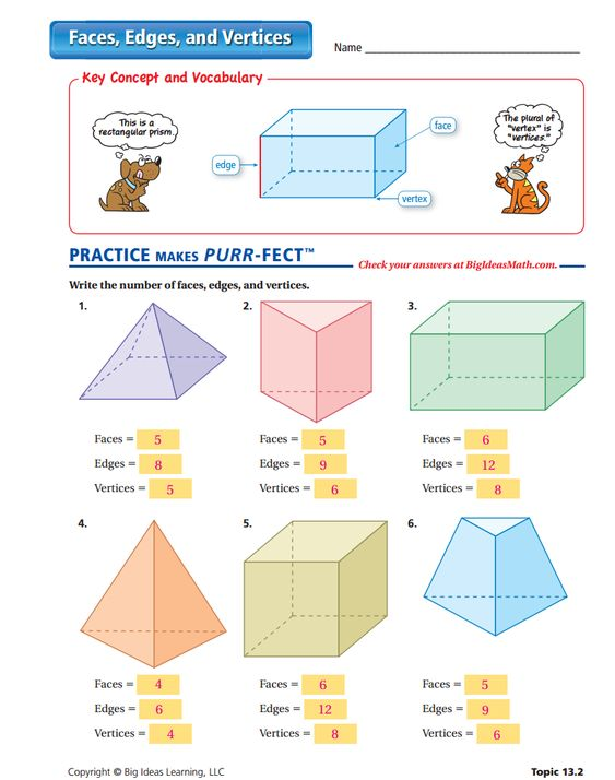 math worksheet : faces edges and vertices worksheet  answers  surface area  : Big Ideas Math Worksheets