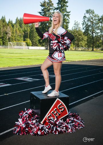 Cute pic idea ... we'll have to break out that megaphone for the girls' pics next season.