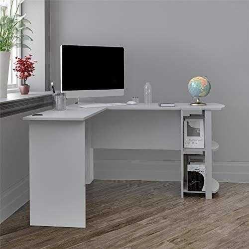 Ameriwood Home Dakota L Shaped Desk With Bookshelves Dove Gray In 2020 Bookshelf Desk Office Desk Chair L Shaped Corner Desk
