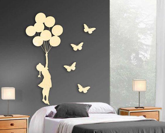 Figura de metal de pared ni a globos con 4 mariposas - Decoracion beltran ...