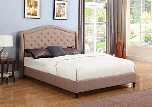 Home Life Cloth Light Brown Linen Curved Hand Diamond Tufted And Nailed Headboard 53 Tall Headboard Platf Queen Size Platform Bed Upholstered Platform Bed Bed