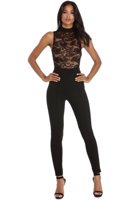 Black Sheer Ambition Lace Catsuit   WindsorCloud