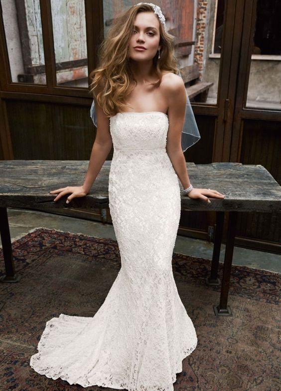 Galina Strapless Lace Mermaid Dress – Ivory Size 3 Wedding Dress ...