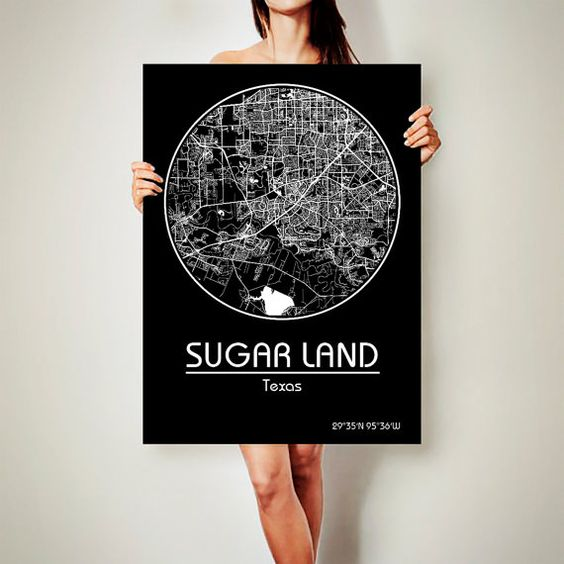 SUGAR LAND Texas Map Sugar Land Poster City Map by ArchTravel