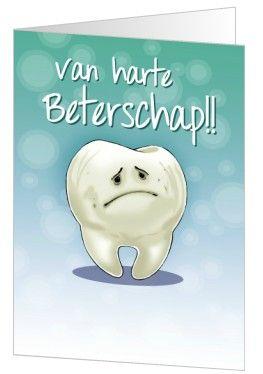 Ken je iemand met enorme kiespijn? Stuur dan deze beterschapskaart van Kaartopmaat.nl