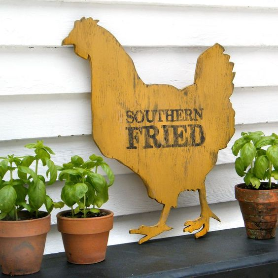 chickien signs | Chicken Sign Southern Fried Roadside Sign Hen Kitchen Wall Decor. $82 ...