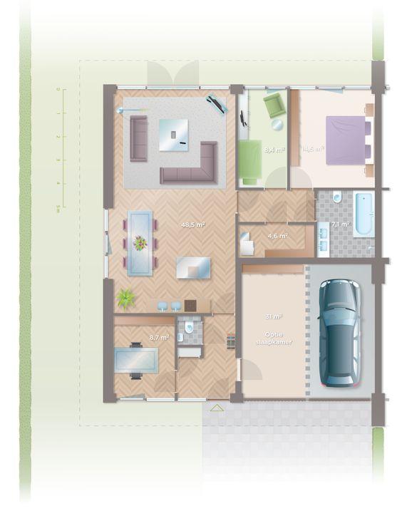 Twee onder n kap bungalows bouwnummers 13 15 en 17 een overzichtelijk plattegrond van de - Kamer onder de helling ...