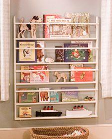 children's bookshelves from plate rack