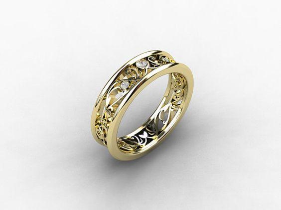 Diamond ring Yellow gold wedding band lace by TorkkeliJewellery, $1190.00