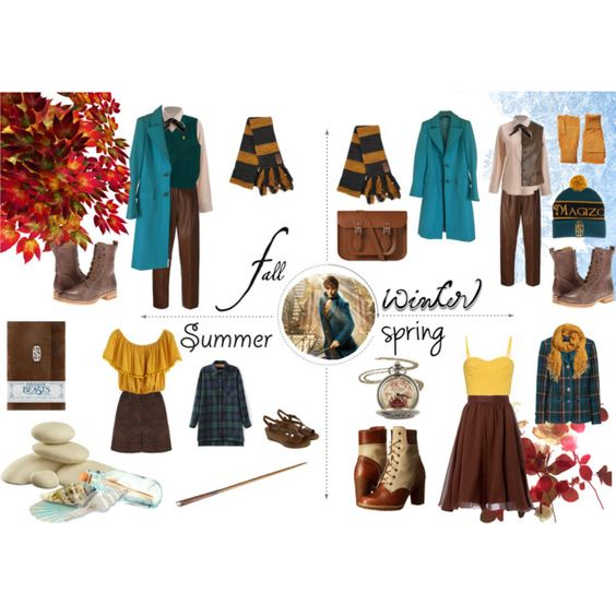 "Newt Scamander Inspired ""Summer To Spring"" Outfits by ophelialilas on Polyvore featuring mode, Tomas Maier, Pierre Cardin, Versace, Federica Tosi, Carolina Herrera, FLOW the Label, Frye, Timberland and The Cambridge Satchel Company"