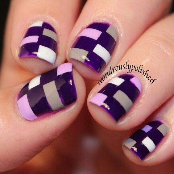 Instagram media by wondrouslypolished - Some rectangles for the latest installment of the 31 Day Nail Challenge, Purple!