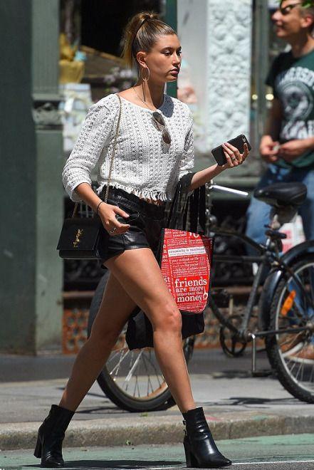 ysl patent leather clutch - Hailey Baldwin wearing Saint Laurent Monogramme Flap Crossbody Bag ...