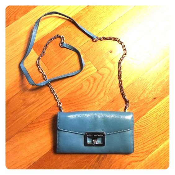 "Marc by Marc Jacobs Crossbody Teal multi pocket mini bag with long chain. Used only a handful of times. Strap can unhook to become a clutch/wallet. Turn key style closure. 7.5"" x 4"" x 1"" Marc by Marc Jacobs Bags Crossbody Bags"