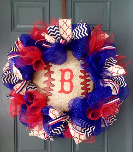 Or Heather you can make this for me... Boston Red Sox Wreath on Etsy, $60.00