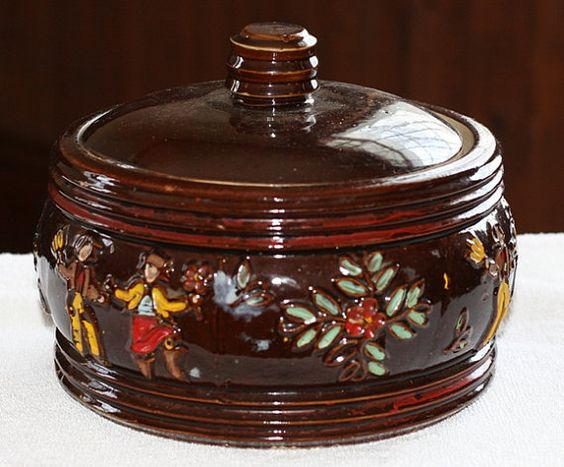 Early Red Wing Covered Casserole Hand Painted by SweetDiggs