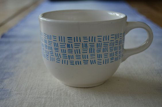Hand-Painted Coffee Cup / Blue Line Pattern on Ceramic Coffee Mug / White Kitchen Home Decor by 7thStreetHaven on Etsy