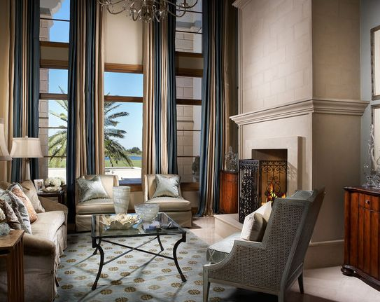 2 story great room decorating   tall-striped-drapes-in-formal ...