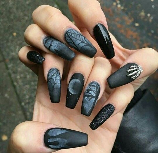 Coffin Nails 2017 Ideas In 2020 Goth Nails Gothic Nails Halloween Nails