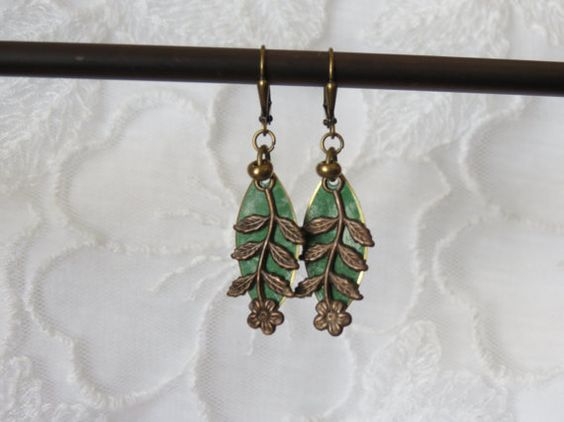 Vintage Earrings with fancy Brass leverback by LisasLocalColor, $15.00