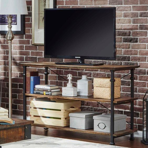 Grove Place TV Stand in Distressed Cocoa