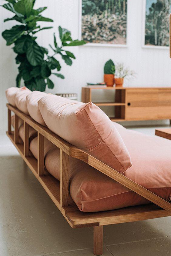 salmon pink sofa, pantone pale dogwood, exposed frame sofa, dusty pink, dusty rose, dusty peach, blush peach, blush pink, rose quartz